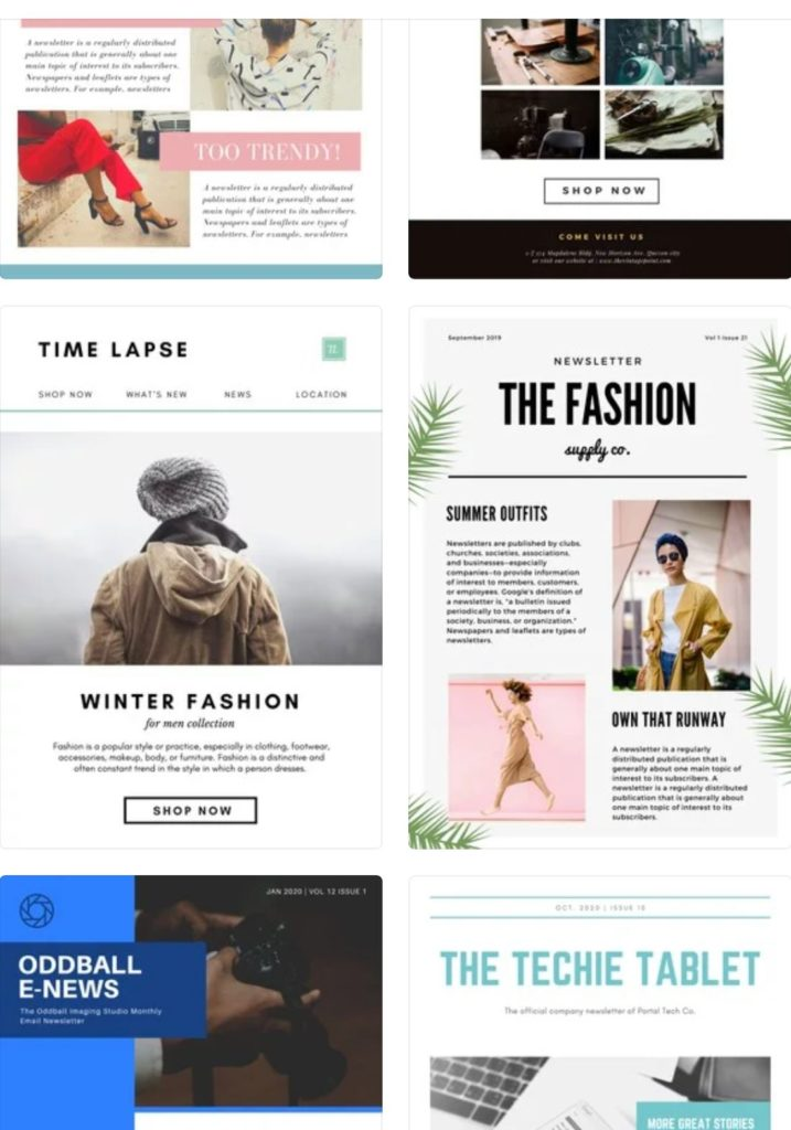 Canva email newsletter template for free