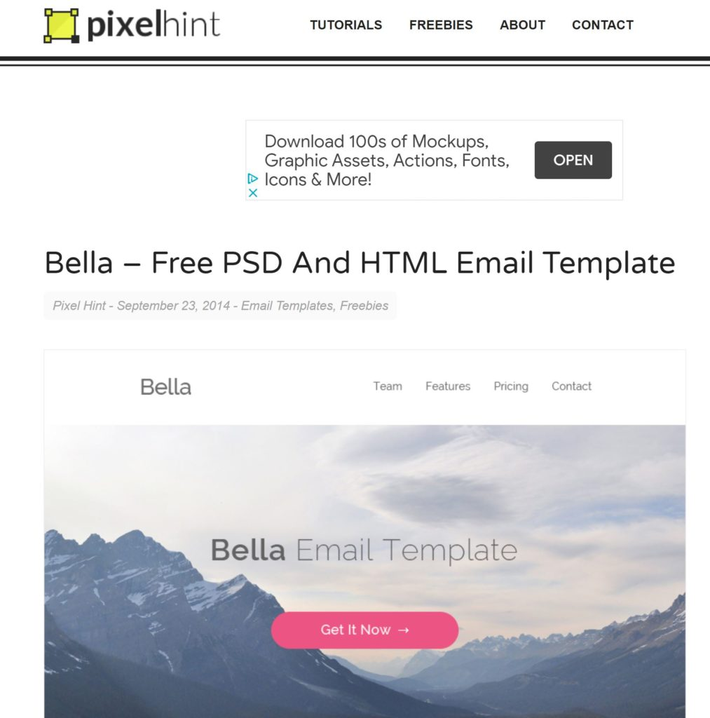 free email newsletter templates PSD