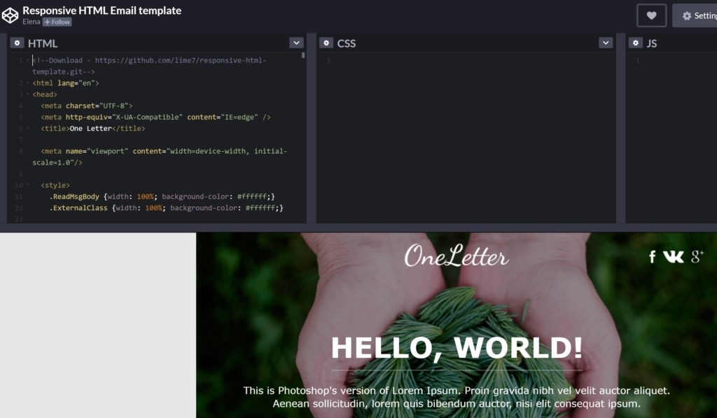 HTML email newsletter template
